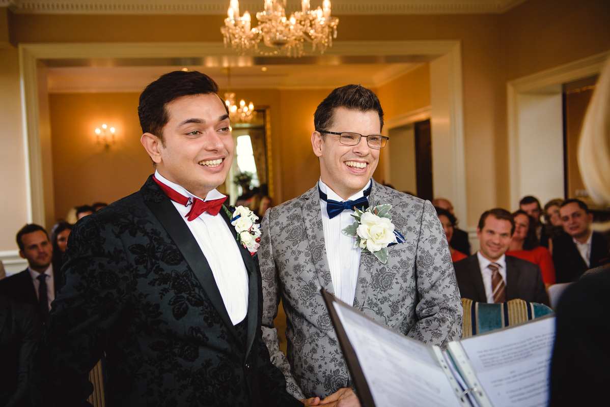 Gay wedding Photographer London at Petersham Hotel