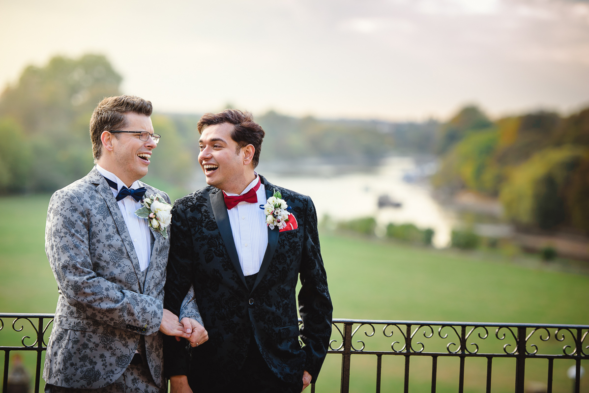 Gay Wedding Couple in London with Thames