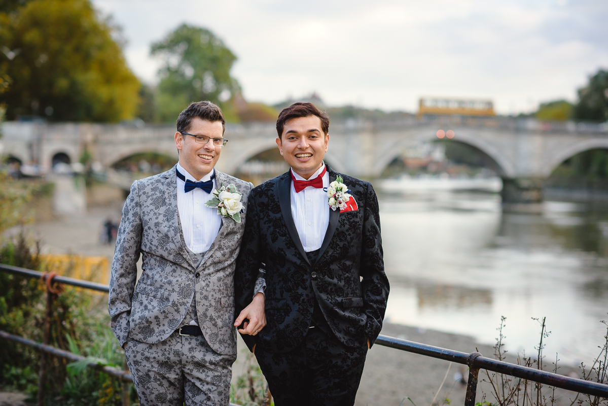 Gay Wedding Couple at Richmond Bridge