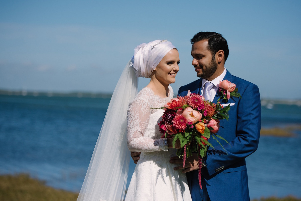 Beach wedding photography Tournebury Woods Estate