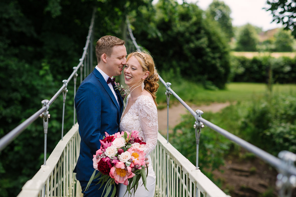 Wedding Couple on Canford Parish Church bridge