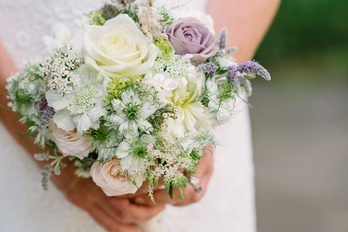 White and lila flower bouquet by Bramble and Moss