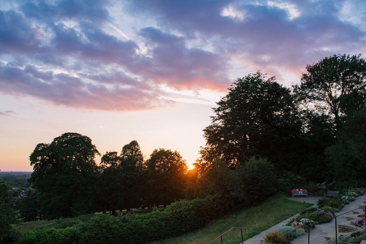 Richmond Wedding Photographer sunset view over Richmond Park