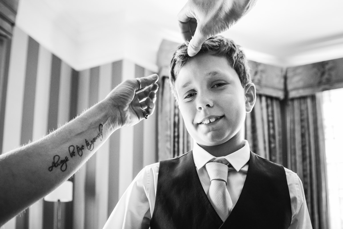 Pageboy getting ready for wedding at Richmond Gate Hotel