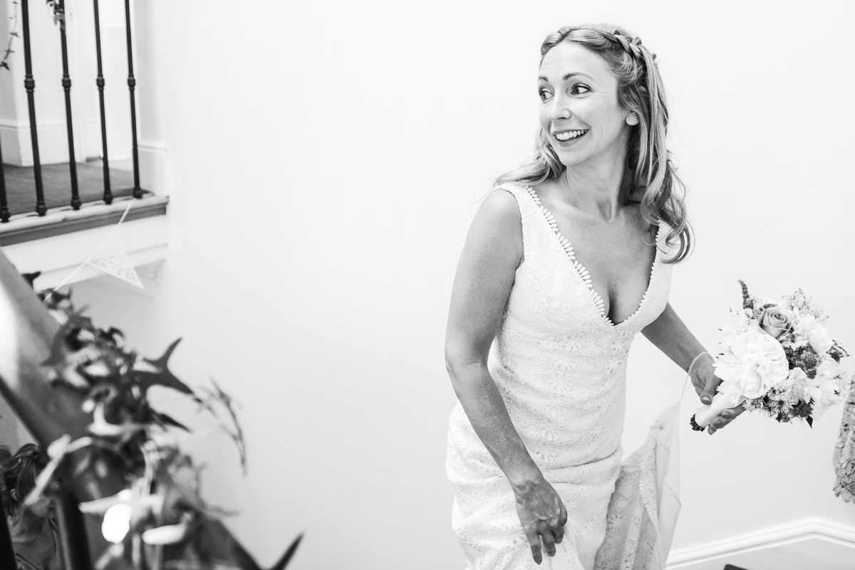 Bride excited before ceremony at Pembroke Lodge