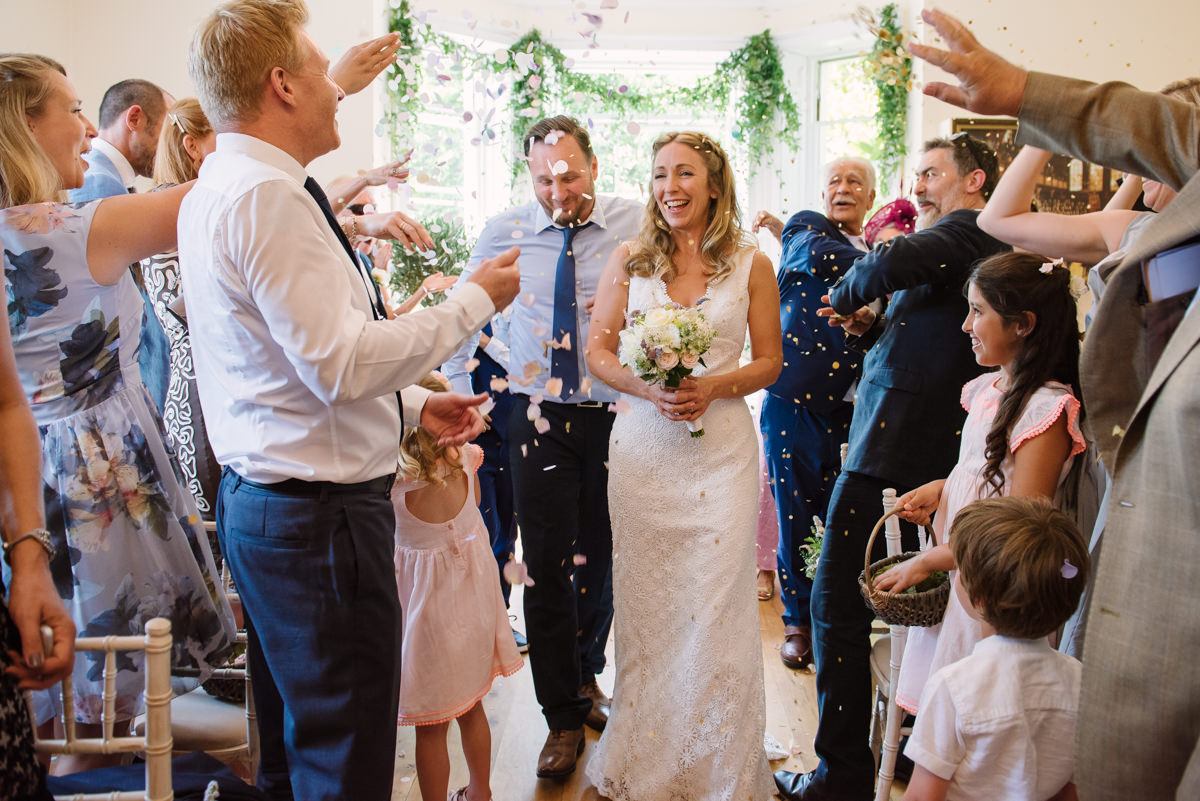Wedding confetti at Pembroke Lodge