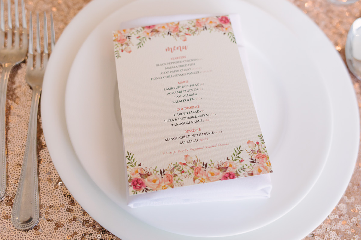 Wedding Menu Flower Theme- Froyle Park Asian Wedding Photography