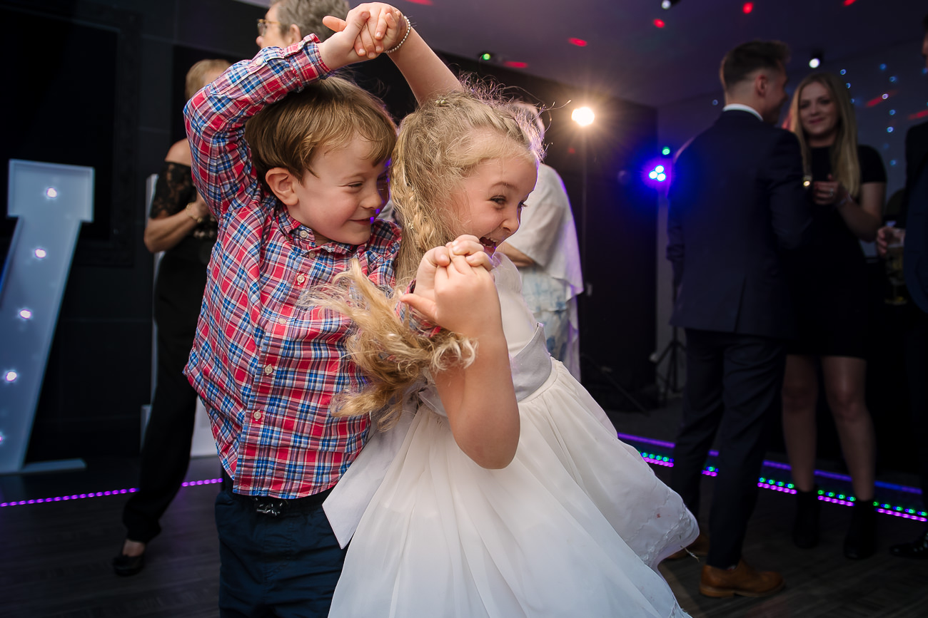 Two kids dancing at Russets Country House