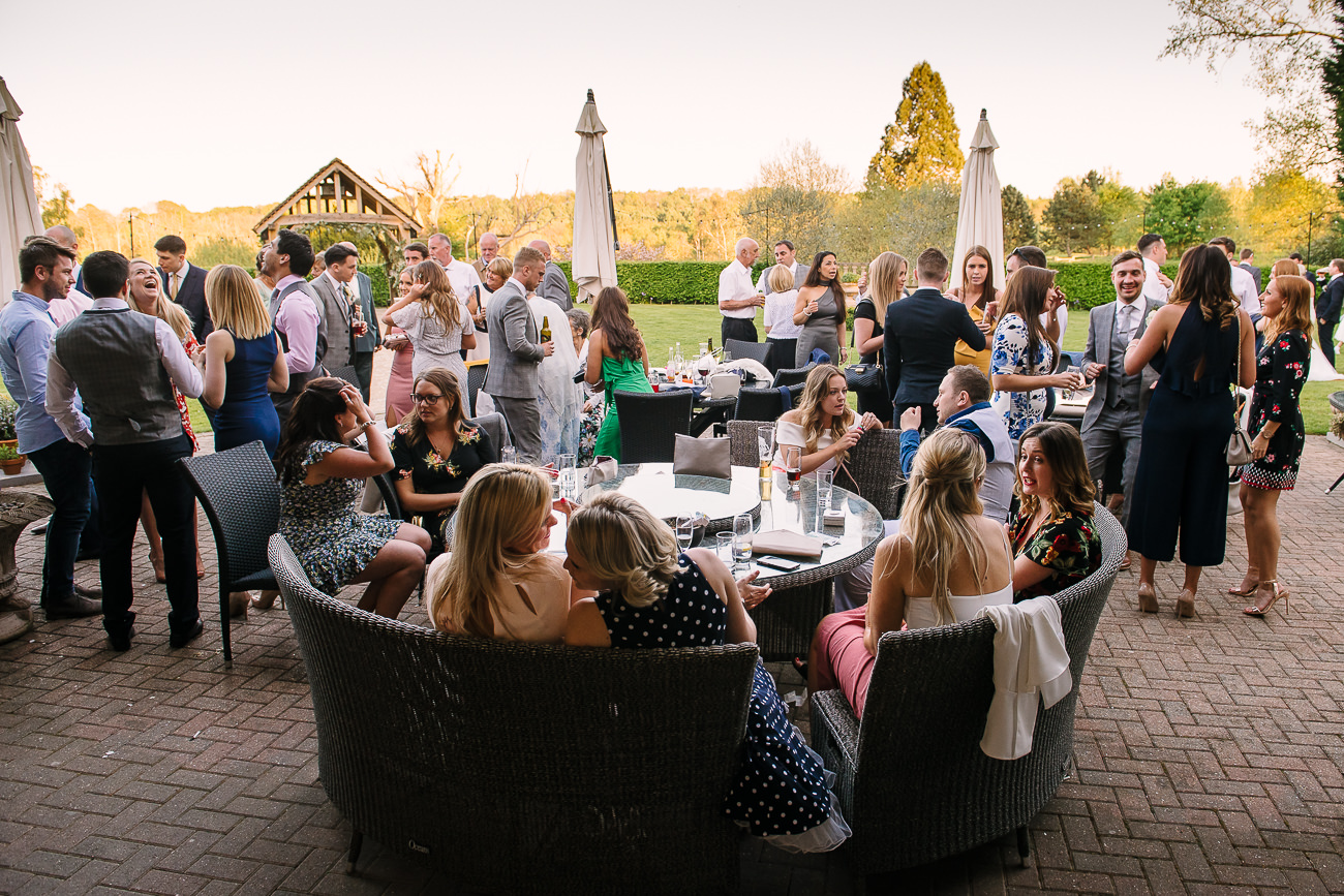 Guests enjoying warm summer evening at Russets Country House