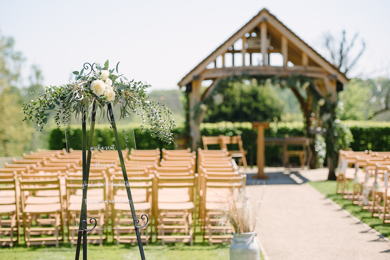 Russets Country House sunny outdoor ceremony setup
