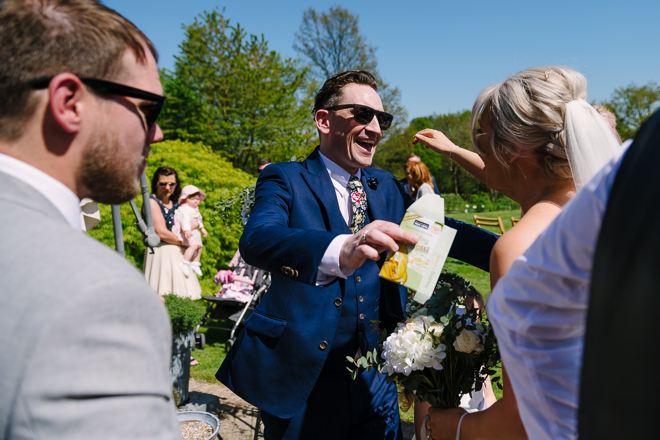 Guest congratulating bride at Russets Country House