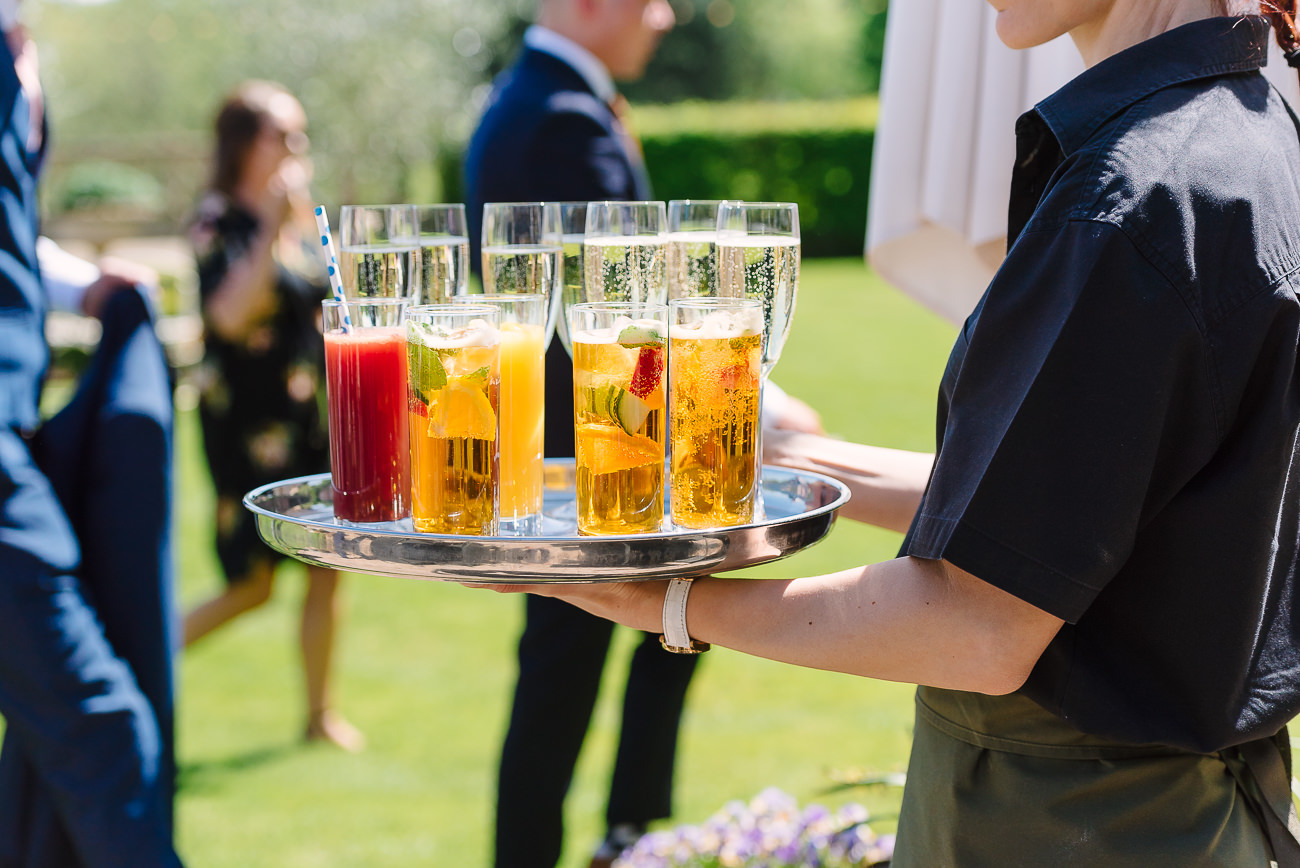 Drinks for wedding guests at Russets