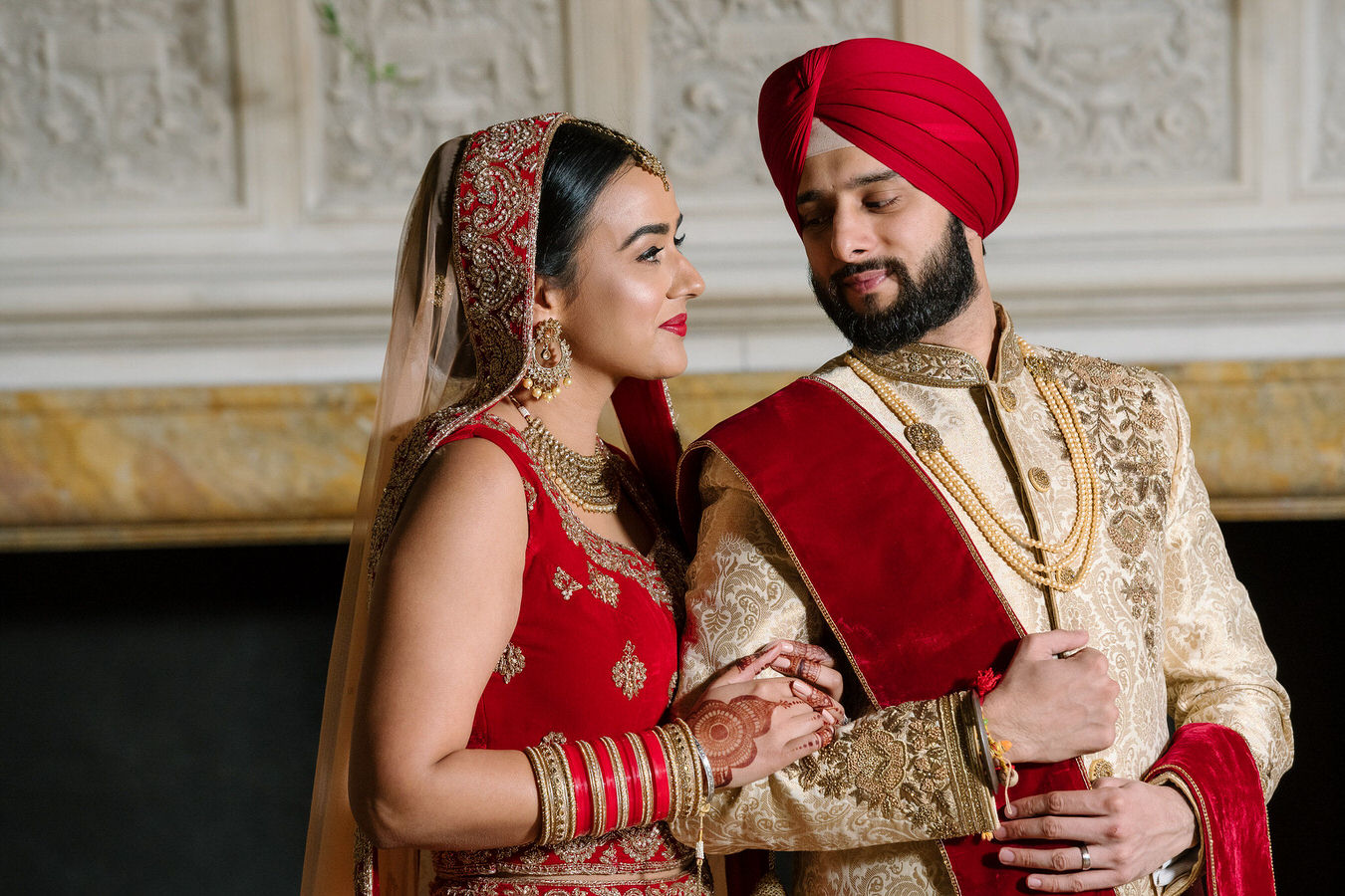 Asian wedding photograph of a London couple