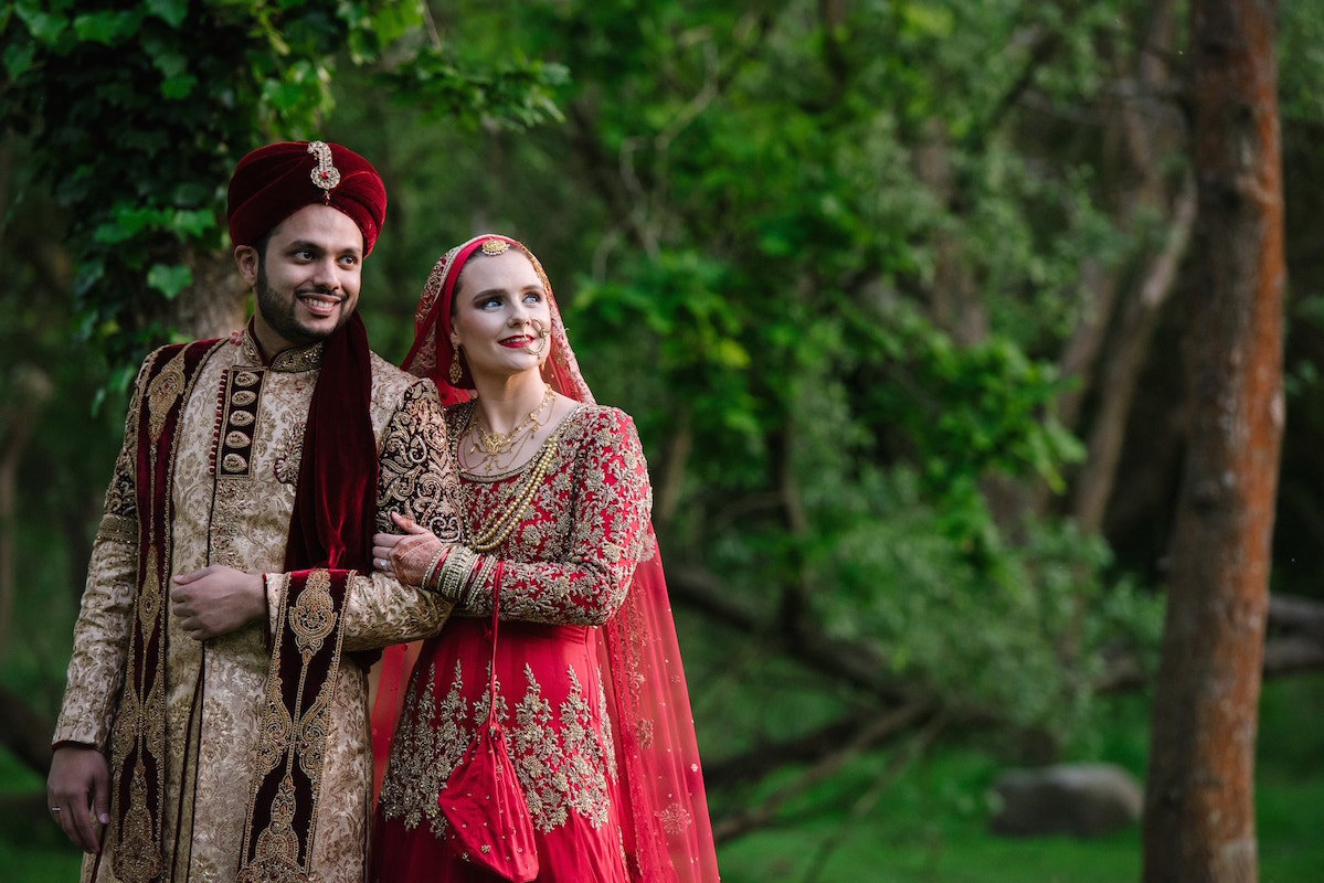 Wedding portrait by female asian muslim wedding photographer London