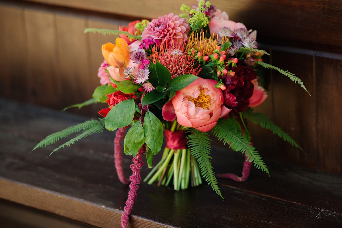 Bright colourful bridal bouquet by Katherine Bly