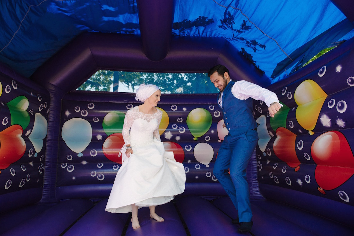 Bouncy Castle at a wedding First Bounce instead of first Dance Photography