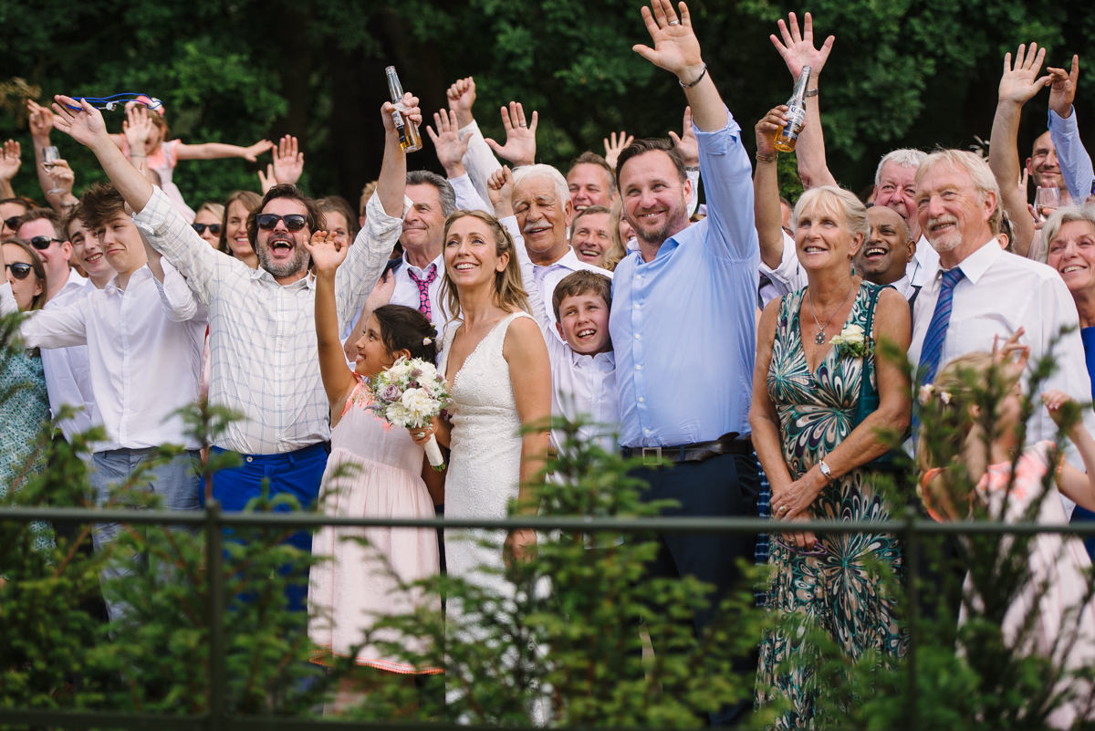 Richmond Wedding Photography | Happy wedding group photo at Pembroke Lodge