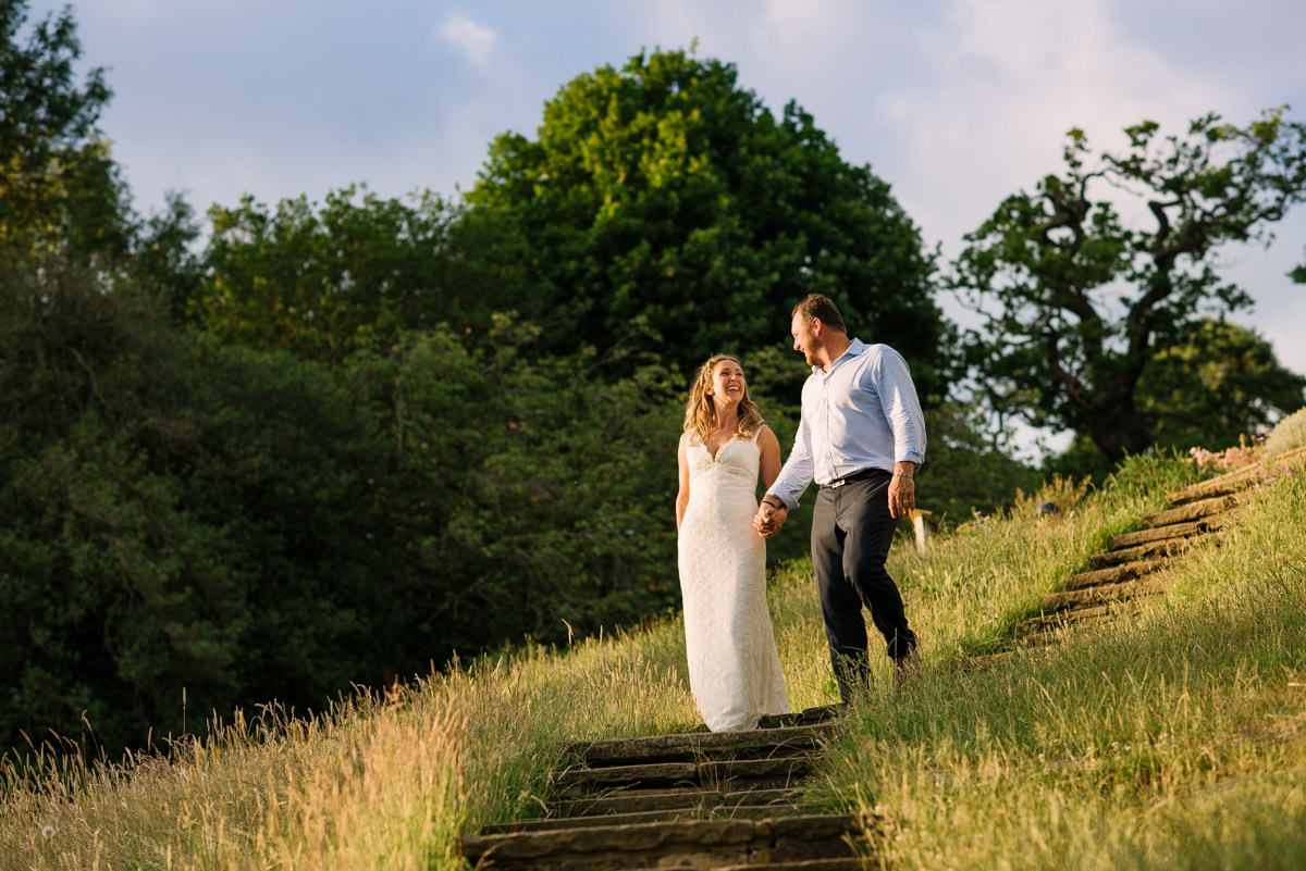 Happy wedding couple portrait at Pembroke Lodge in Richmond Park