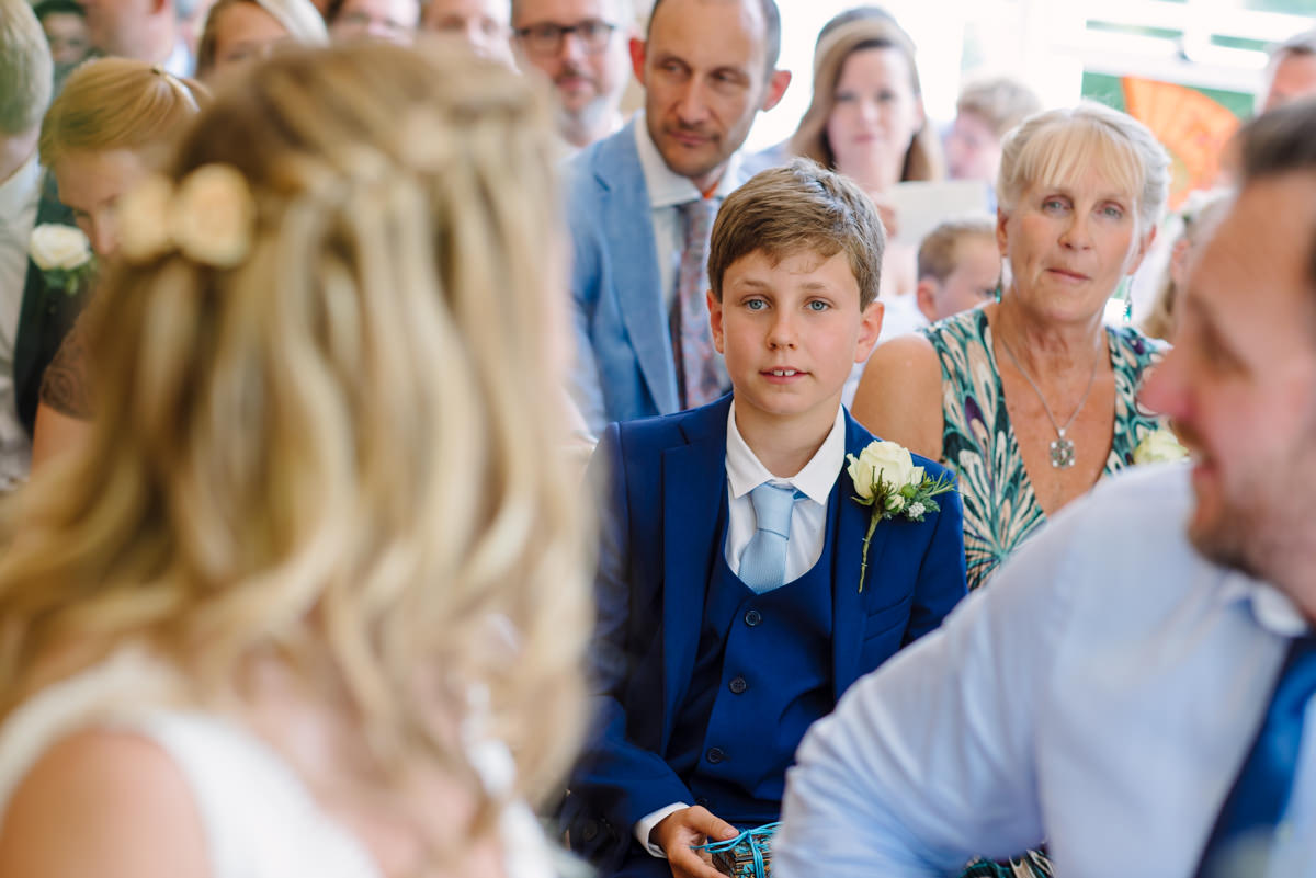 Bride and son at ceremony at Russel Suite