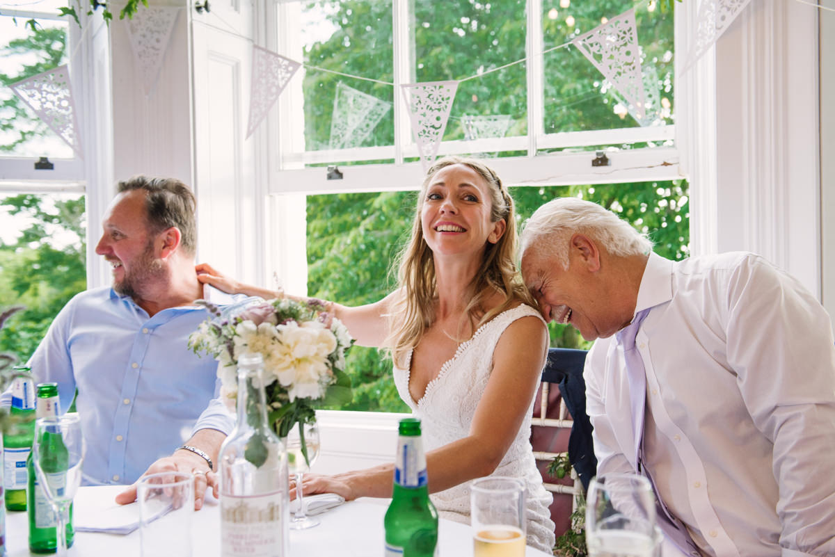 Bride and father moment during speeches