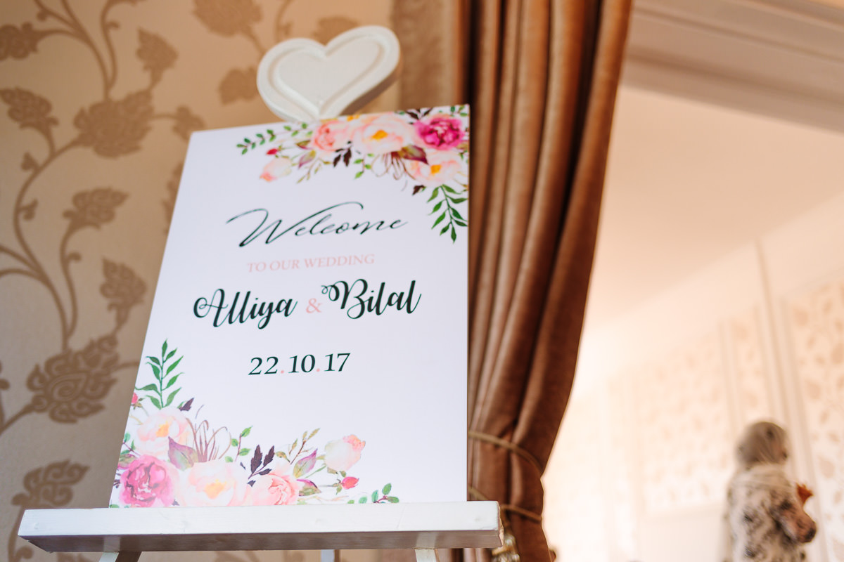 Wedding Stationery Floral Theme Welcome Board at Asian Wedding