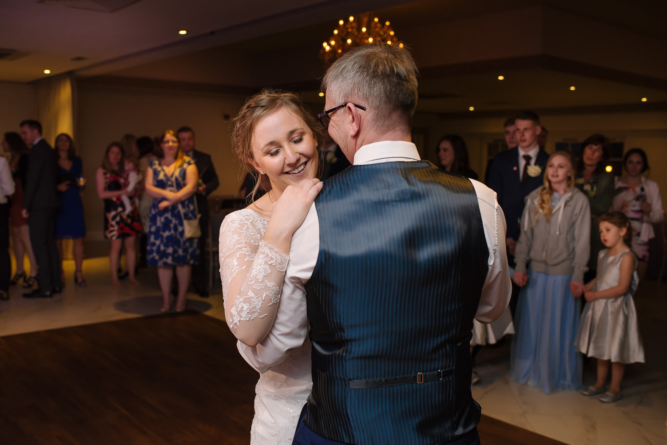 Bride and father dance at Froyle Park wedding reception
