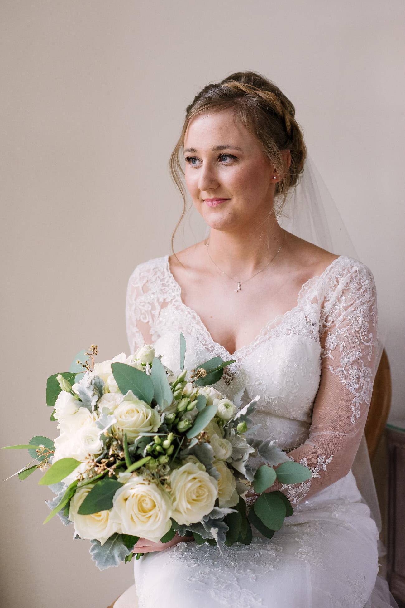 Froyle Park Wedding Photography Bridal Portrait with flower bouquet