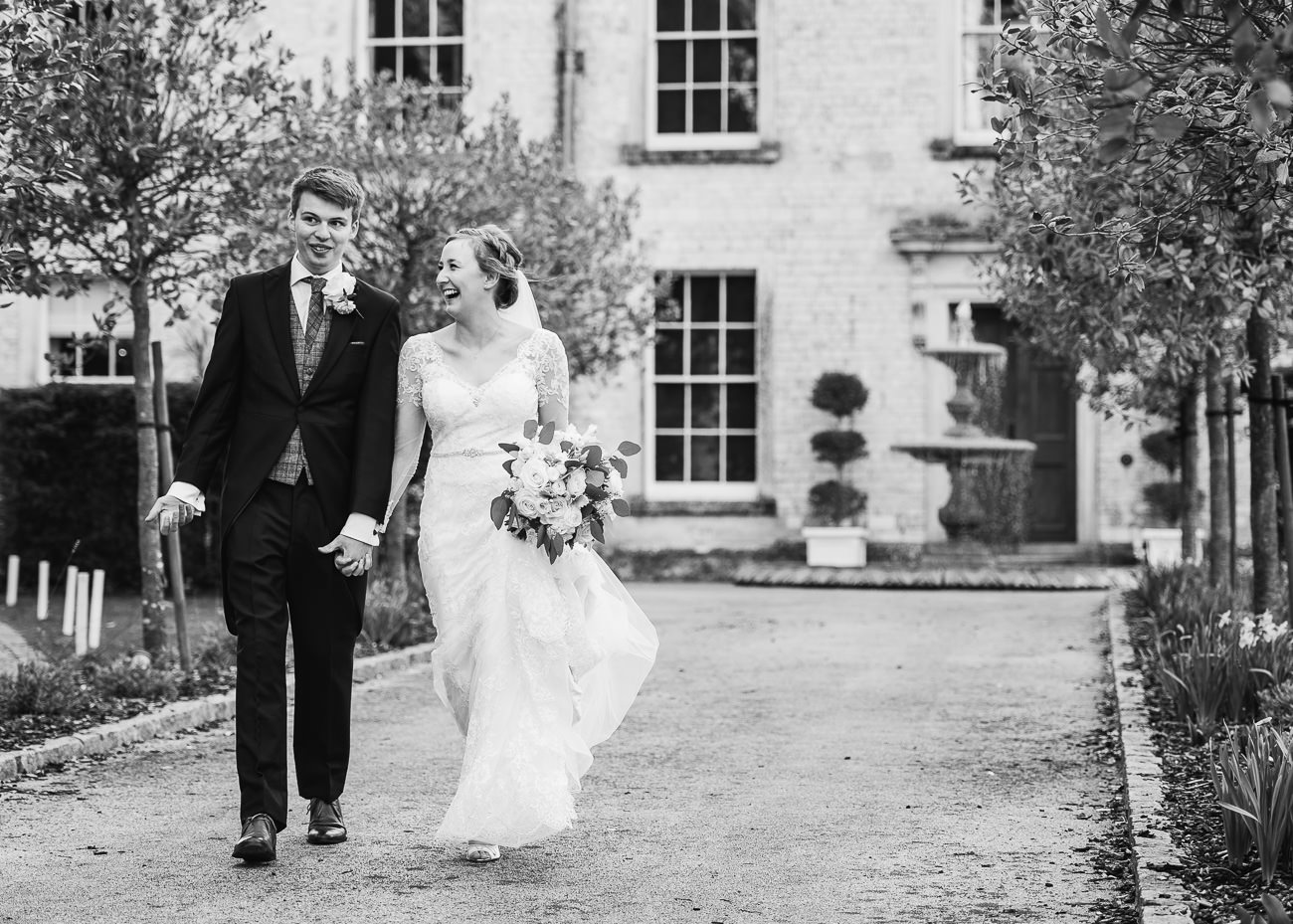 Black and White wedding photography Bride and Groom casual portrait
