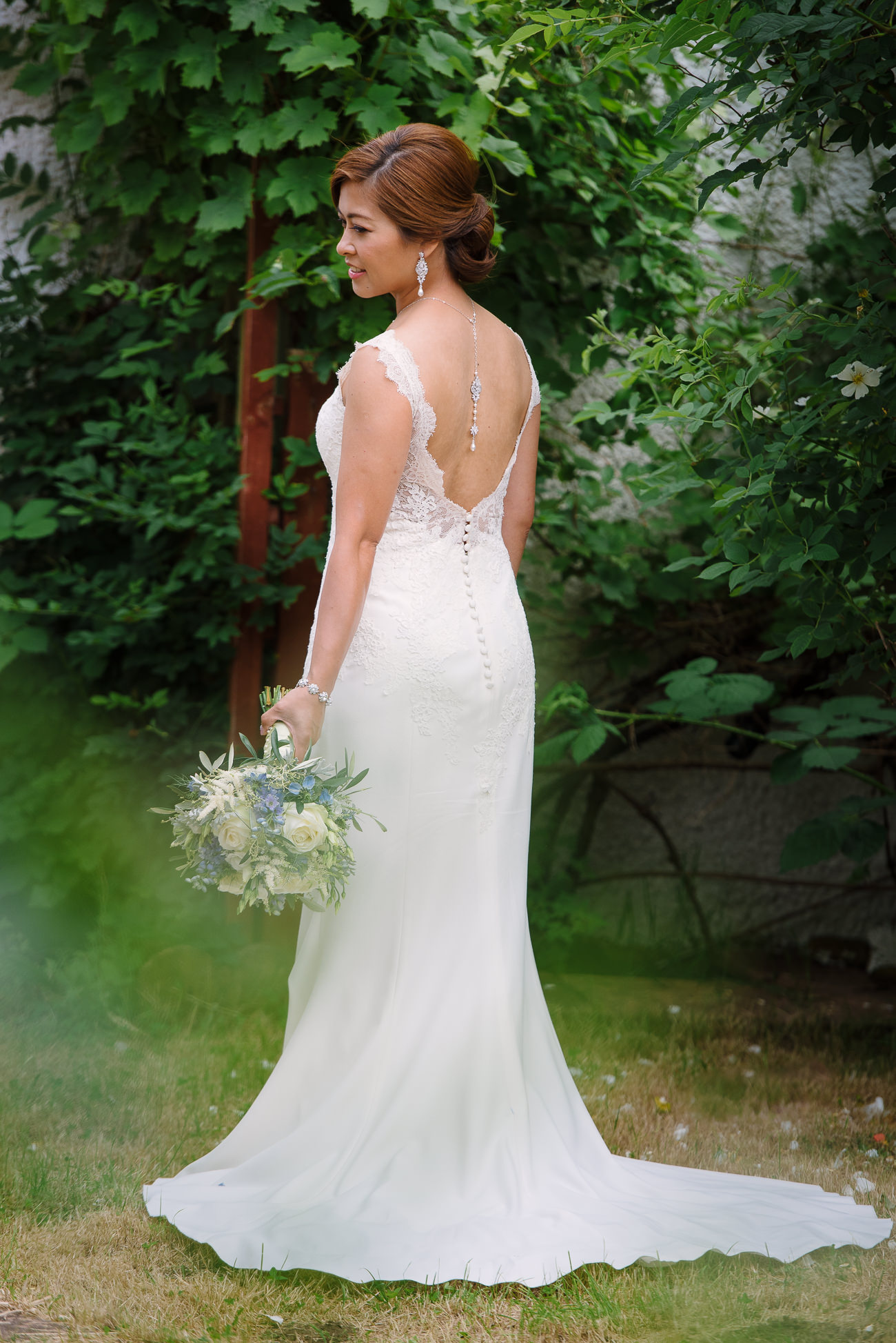 Bridal Portrait in her home garden in London