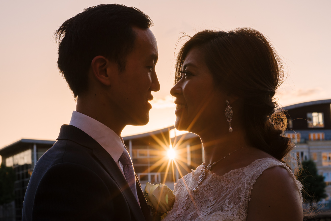 Sunset wedding photography by the Thames