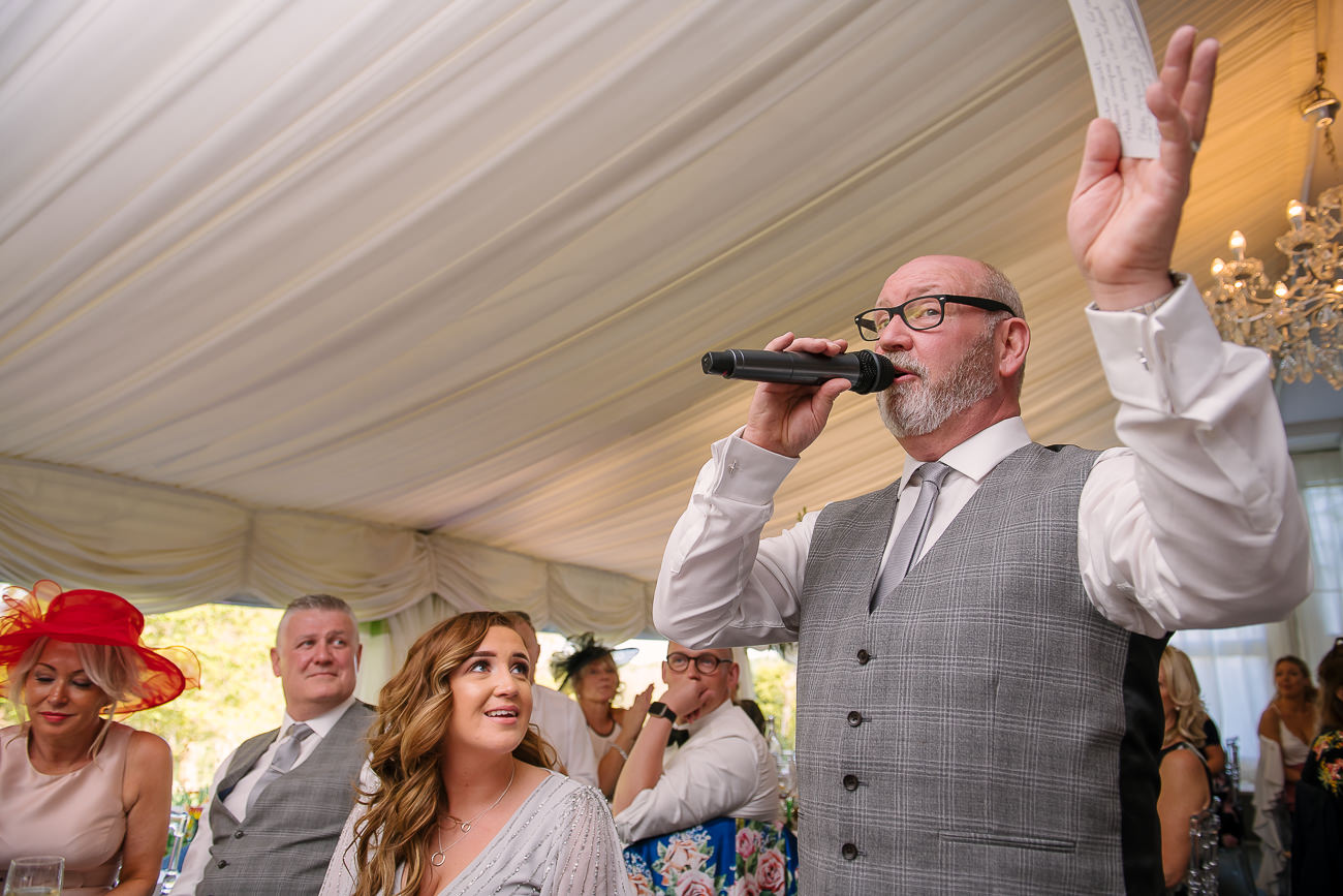 Father of the bride reading his speech at Russets Country House