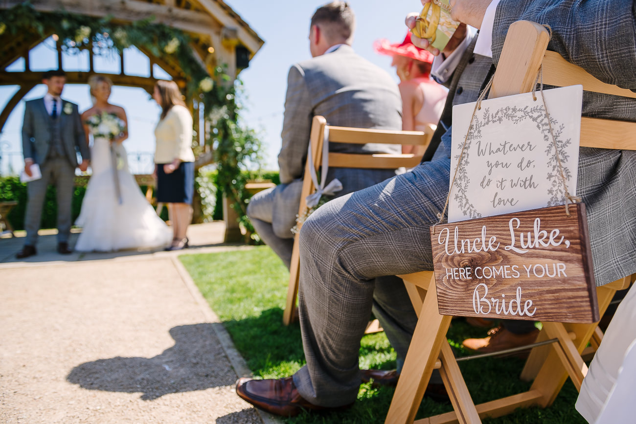 """Uncle Luke, here comes your bride"" message on board"