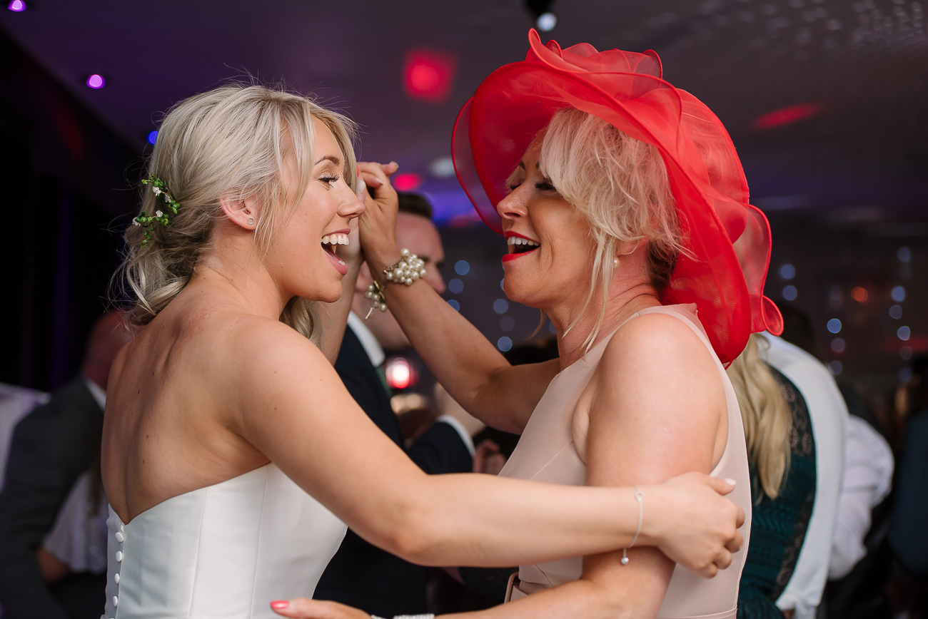 Bride and her mother dancing together on the dance floor at Russets Country House