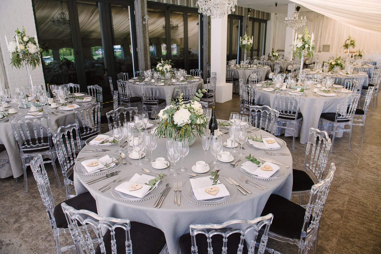 Wedding tables set up at Russets Country House