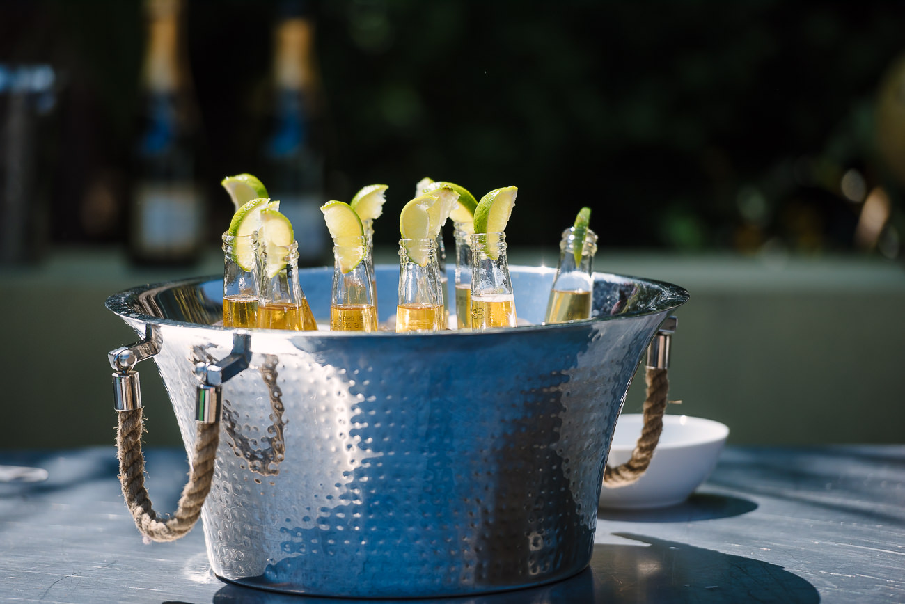 Beers with lime slices in a ice bucket at Russets Country House