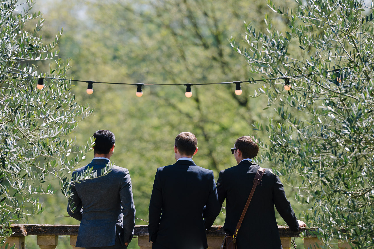 Wedding guests admiring Russets Country House grounds