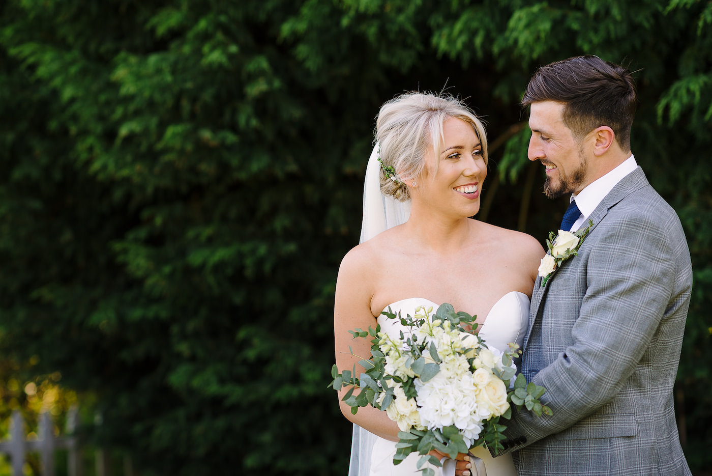Bride and groom portrait photo in the garden at Russets Country House